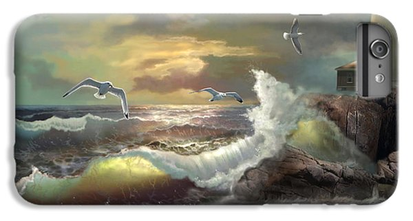 Seagull iPhone 6 Plus Case - Michigan Seul Choix Point Lighthouse With An Angry Sea by Regina Femrite