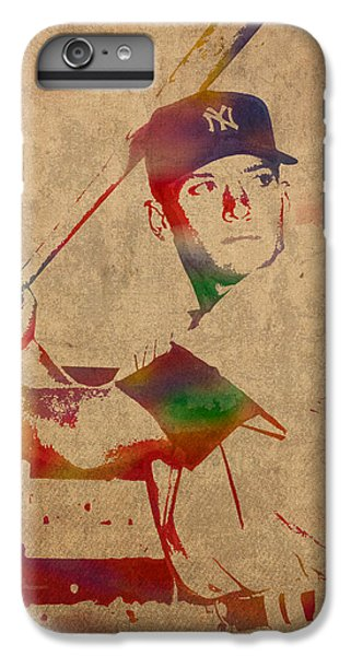 Mickey Mantle New York Yankees Baseball Player Watercolor Portrait On Distressed Worn Canvas IPhone 6 Plus Case by Design Turnpike