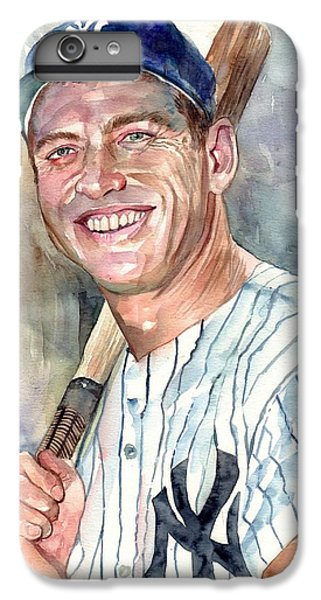 Mickey Mantle iPhone 6 Plus Case - Mickey Mantle Portrait by Suzann's Art