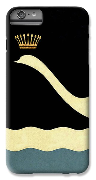 Minimalist Swan Queen Flying Crowned Swan IPhone 6 Plus Case by Tina Lavoie
