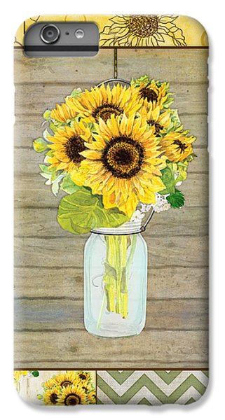 Sunflower iPhone 6 Plus Case - Modern Rustic Country Sunflowers In Mason Jar by Audrey Jeanne Roberts
