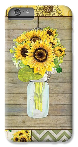 Modern Rustic Country Sunflowers In Mason Jar IPhone 6 Plus Case by Audrey Jeanne Roberts