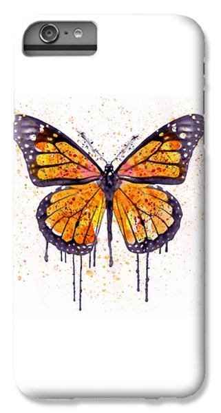 Butterfly iPhone 6 Plus Case - Monarch Butterfly Watercolor by Marian Voicu