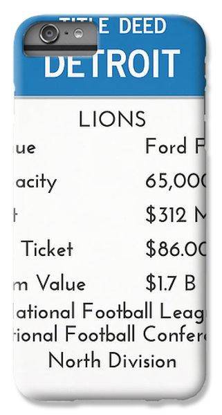 Lion iPhone 6 Plus Case - My Nfl Detroit Lions Monopoly Card by Joe Hamilton