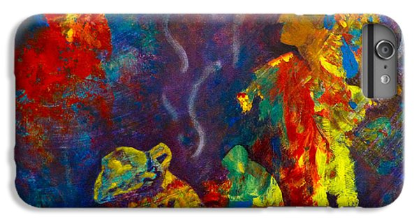 IPhone 6 Plus Case featuring the painting Native American Fire Spirits by Claire Bull