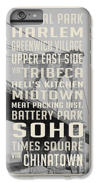 Harlem iPhone 6 Plus Case - New York City Subway Stops Vintage Brooklyn Bridge by Edward Fielding