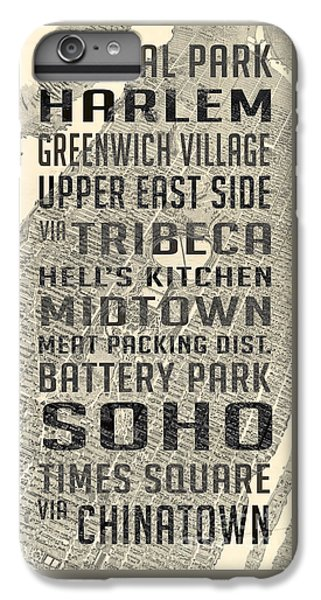 Harlem iPhone 6 Plus Case - New York City Subway Stops Vintage Map 5 by Edward Fielding