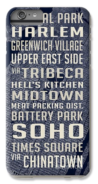 Harlem iPhone 6 Plus Case - New York City Vintage Subway Stops With Map by Edward Fielding