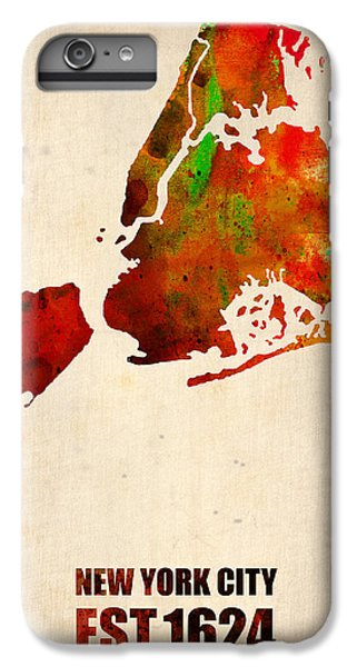 Central Park iPhone 6 Plus Case - New York City Watercolor Map 2 by Naxart Studio