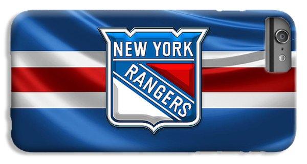 Sport iPhone 6 Plus Case - New York Rangers - 3d Badge Over Flag by Serge Averbukh