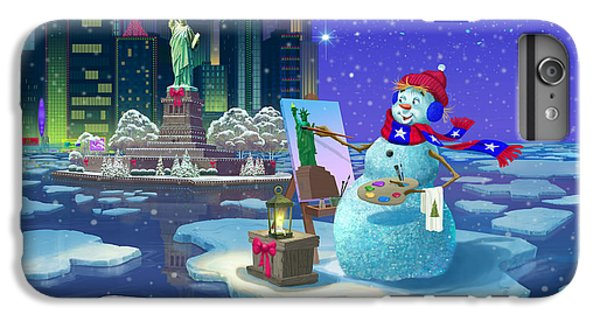 Statue Of Liberty iPhone 6 Plus Case - New York Snowman by Michael Humphries