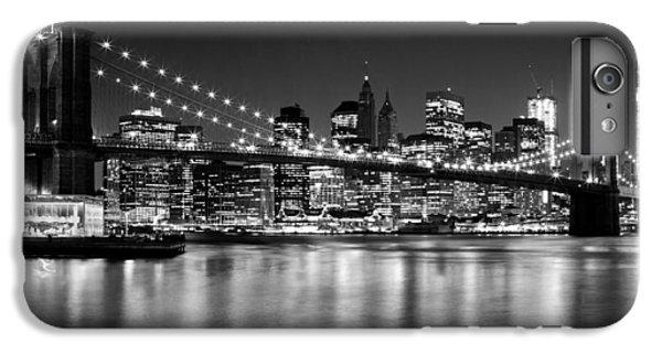 Night Skyline Manhattan Brooklyn Bridge Bw IPhone 6 Plus Case by Melanie Viola