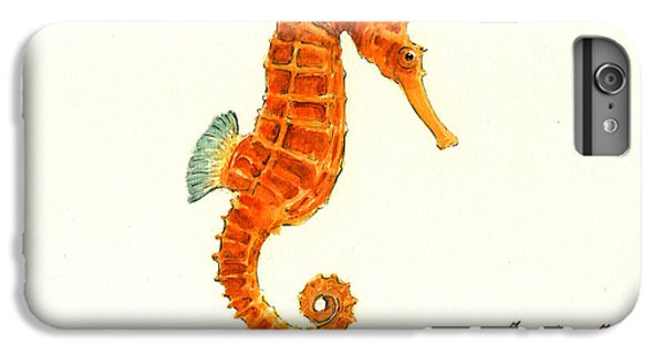 Orange Seahorse IPhone 6 Plus Case by Juan Bosco