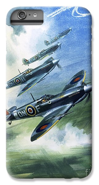 Patrolling Flight Of 416 Squadron, Royal Canadian Air Force, Spitfire Mark Nines IPhone 6 Plus Case by Wilf Hardy