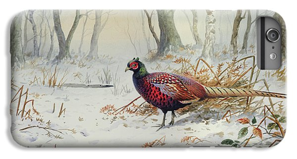 Pheasants In Snow IPhone 6 Plus Case by Carl Donner