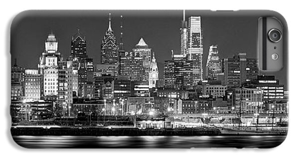 Philadelphia iPhone 6 Plus Case - Philadelphia Philly Skyline At Night From East Black And White Bw by Jon Holiday