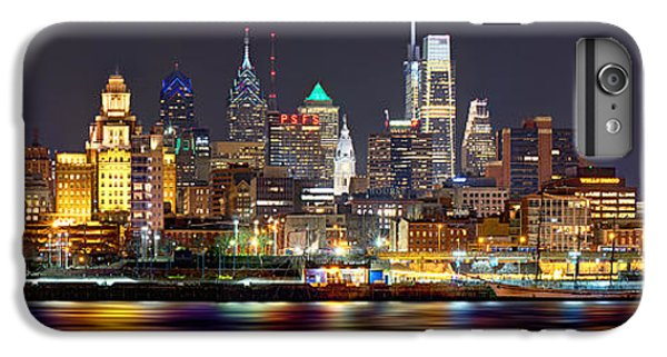 City Scenes iPhone 6 Plus Case - Philadelphia Philly Skyline At Night From East Color by Jon Holiday
