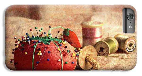 Strawberry iPhone 6 Plus Case - Pin Cushion And Wooden Thread Spools by Tom Mc Nemar