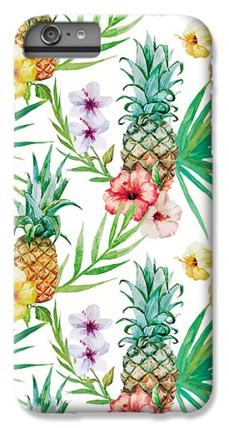 Pineapple And Tropical Flowers IPhone 6 Plus Case
