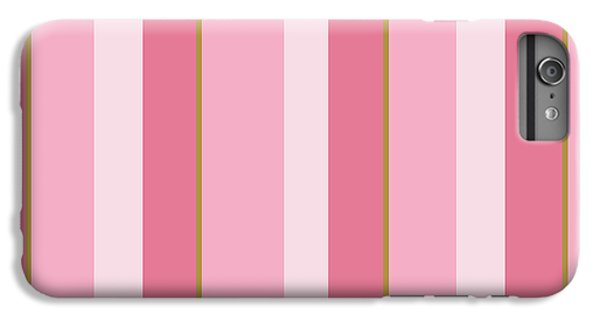 IPhone 6 Plus Case featuring the mixed media Pink Blush Stripe Pattern by Christina Rollo