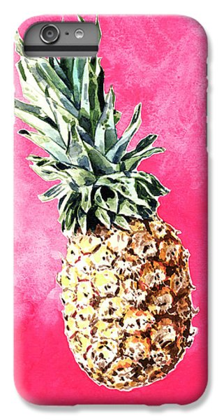 Pink Pineapple Bright Fruit Still Life Healthy Living Yoga Inspiration Tropical Island Kawaii Cute IPhone 6 Plus Case by Laura Row