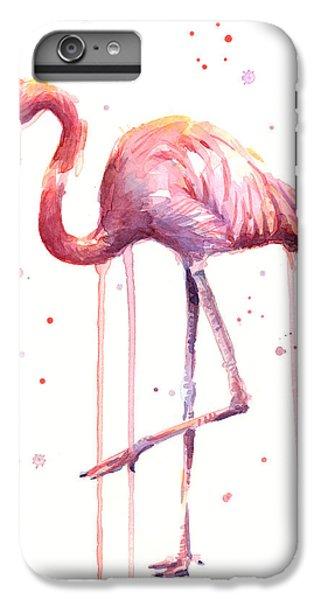 Flamingo iPhone 6 Plus Case - Pink Watercolor Flamingo by Olga Shvartsur
