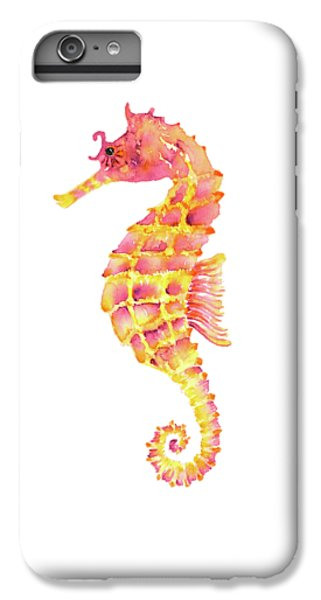 Pink Yellow Seahorse - Square IPhone 6 Plus Case by Amy Kirkpatrick
