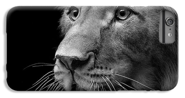 Lion iPhone 6 Plus Case - Portrait Of Lion In Black And White II by Lukas Holas