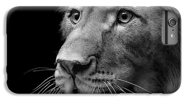 Lion Head iPhone 6 Plus Case - Portrait Of Lion In Black And White II by Lukas Holas