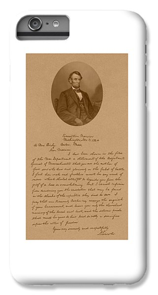 President Lincoln's Letter To Mrs. Bixby IPhone 6 Plus Case by War Is Hell Store