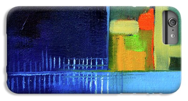 IPhone 6 Plus Case featuring the painting Primary Blue Abstract by Nancy Merkle