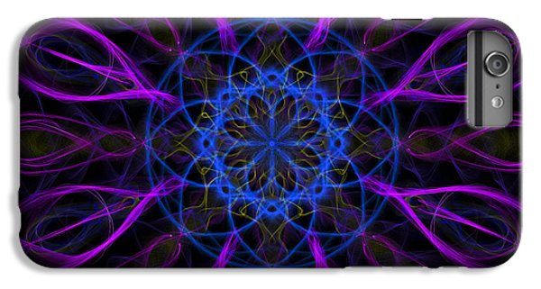 IPhone 6 Plus Case featuring the photograph Purple Blue Kaleidoscope Square by Adam Romanowicz