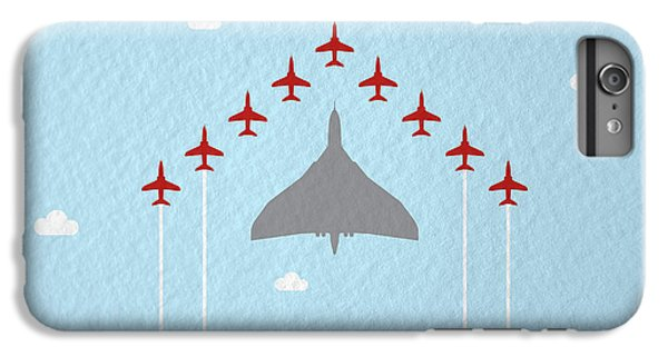 Jet iPhone 6 Plus Case - Raf Red Arrows In Formation With Vulcan Bomber by Samuel Whitton