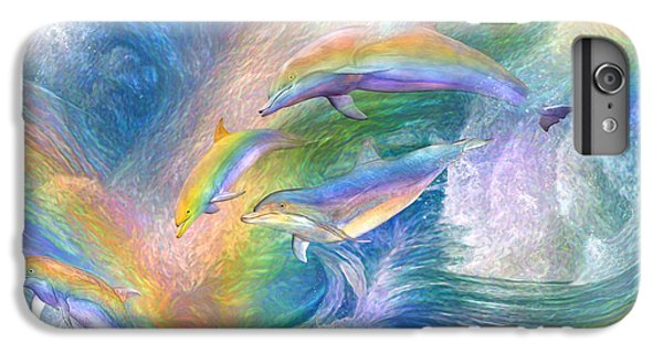 Rainbow Dolphins IPhone 6 Plus Case by Carol Cavalaris
