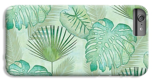 Green iPhone 6 Plus Case - Rainforest Tropical - Elephant Ear And Fan Palm Leaves Repeat Pattern by Audrey Jeanne Roberts