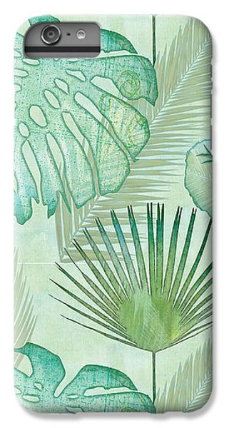 Beach iPhone 6 Plus Case - Rainforest Tropical - Elephant Ear And Fan Palm Leaves Repeat Pattern by Audrey Jeanne Roberts