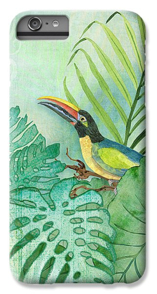 Toucan iPhone 6 Plus Case - Rainforest Tropical - Tropical Toucan W Philodendron Elephant Ear And Palm Leaves by Audrey Jeanne Roberts