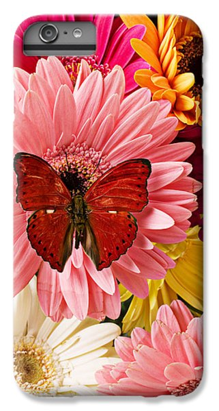 Beautiful iPhone 6 Plus Case - Red Butterfly On Bunch Of Flowers by Garry Gay