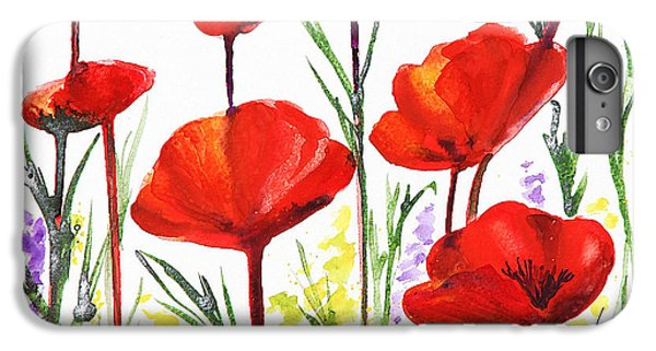 IPhone 6 Plus Case featuring the painting Red Poppies Art By Irina Sztukowski by Irina Sztukowski