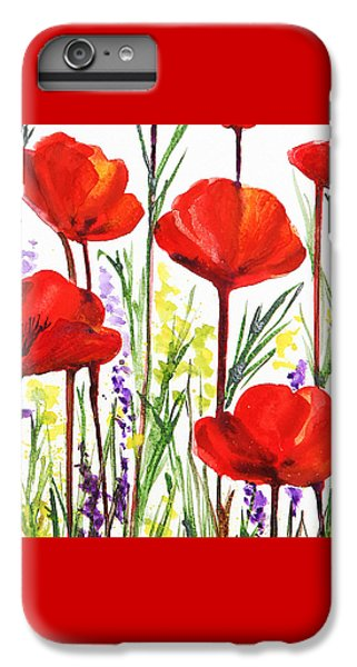 IPhone 6 Plus Case featuring the painting Red Poppies Watercolor By Irina Sztukowski by Irina Sztukowski