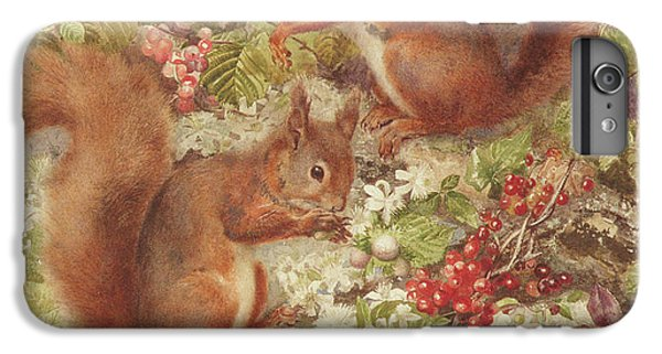 Red Squirrels Gathering Fruits And Nuts IPhone 6 Plus Case by Rosa Jameson