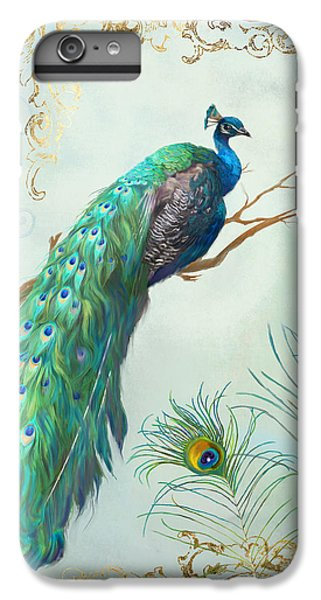 Regal Peacock 1 On Tree Branch W Feathers Gold Leaf IPhone 6 Plus Case by Audrey Jeanne Roberts