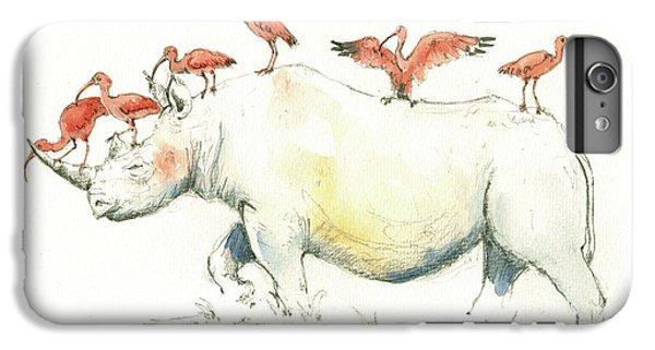 Rhino And Ibis IPhone 6 Plus Case by Juan Bosco
