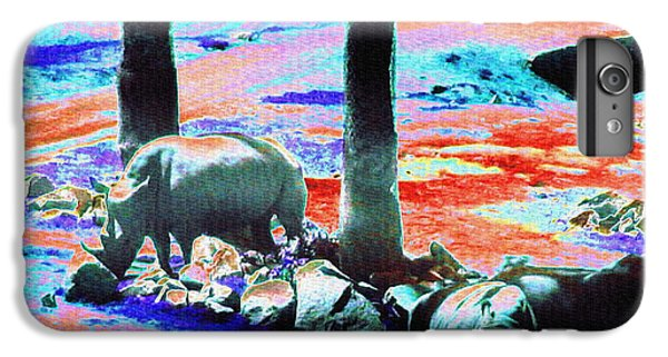 Rhinos Having A Picnic IPhone 6 Plus Case by Abstract Angel Artist Stephen K