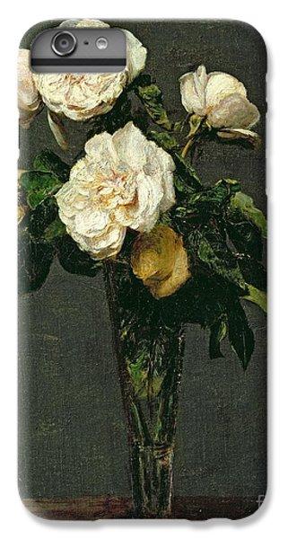 Rose iPhone 6 Plus Case - Roses In A Champagne Flute by Ignace Henri Jean Fantin-Latour