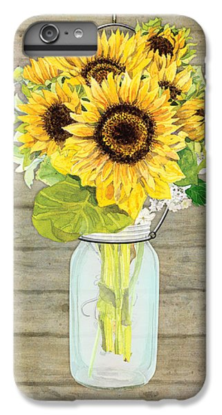 Sunflower iPhone 6 Plus Case - Rustic Country Sunflowers In Mason Jar by Audrey Jeanne Roberts