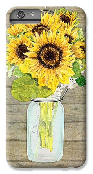 Rustic Country Sunflowers In Mason Jar IPhone 6 Plus Case by Audrey Jeanne Roberts