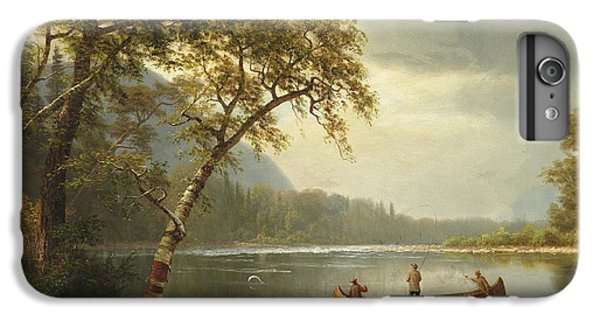 Salmon iPhone 6 Plus Case - Salmon Fishing On The Caspapediac River by Albert Bierstadt