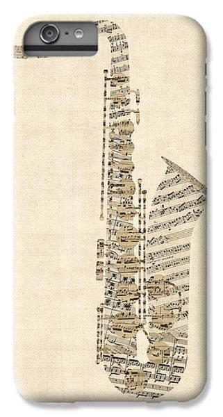 Saxophone iPhone 6 Plus Case - Saxophone Old Sheet Music by Michael Tompsett