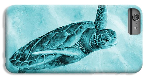 Tortoise iPhone 6 Plus Case - Sea Turtle 2 On Blue by Hailey E Herrera